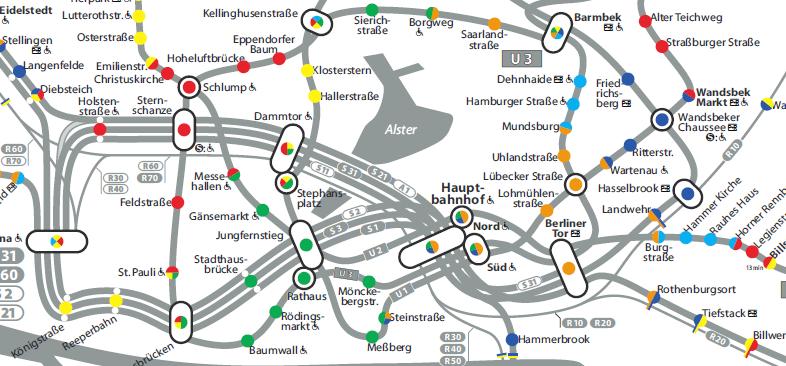 Karte mit Teilbereichen der HVV Tarifzonen und Zahlgrenzen