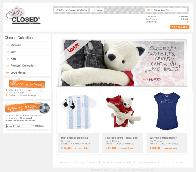 so sah der cCLOSED Online Shop aus, als er ganz neu an den Start ging. Inzwischen ist er viel hübscher geworden.