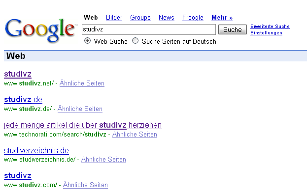 Screenshot mit StudiVZ Artikel in Google