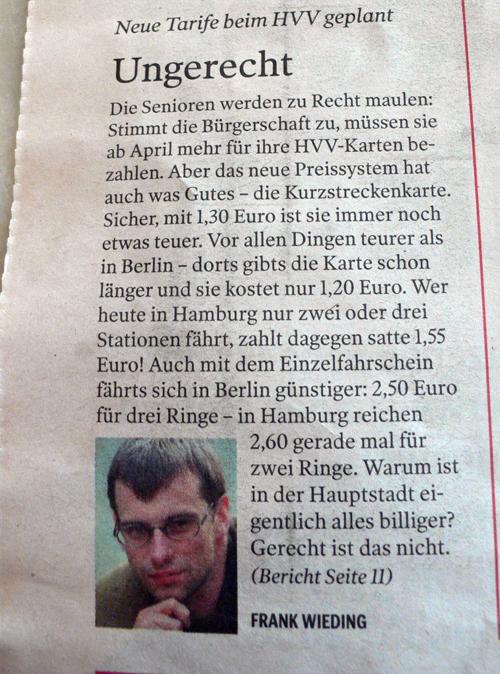 geknipster Mopo-Artikel von Frank Wieding, veröffentlicht am 05.12.06 in der Hamburger Morgenpost mit der Überschrift 'Neue Tarife beim HVV geplant' mit freundlicher Gehnemigung der mopo.