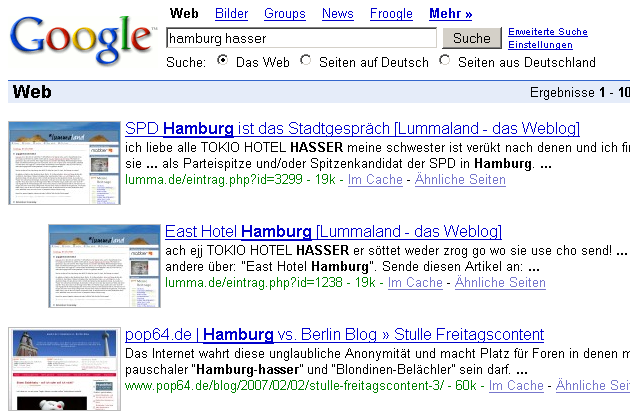 Screenshot Hamburg Hasser