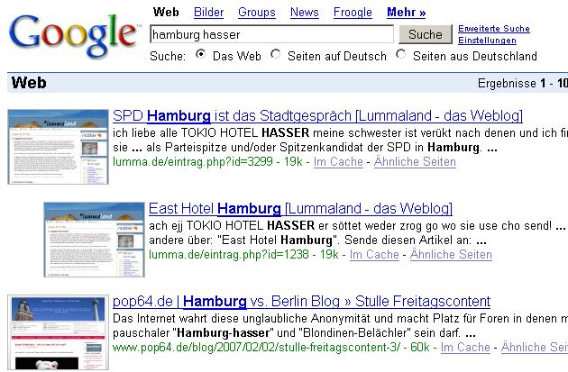 Screenshot Hamburg Hasser