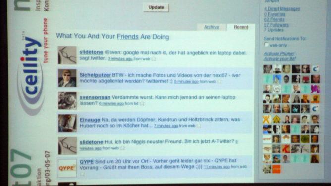 Twitter Wand auf der next07