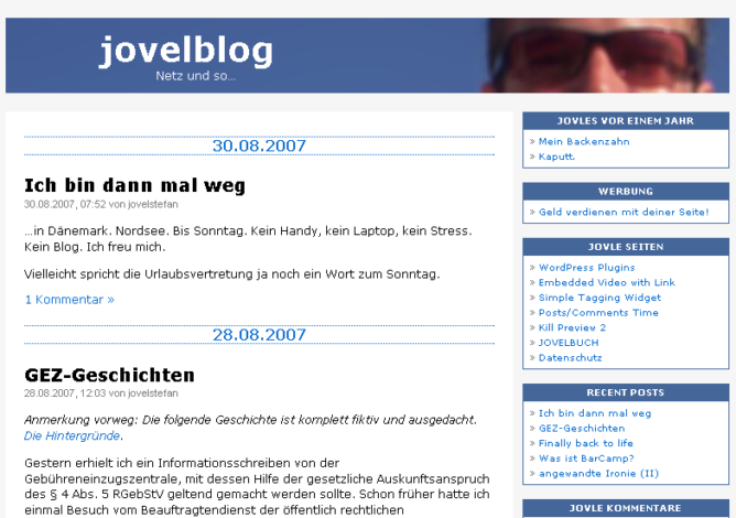 Screenshot jovelblog