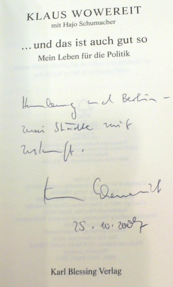 Signatur von Herrn Wowereit. Hamburg und Berlin – zwei Städte mit Zukunft