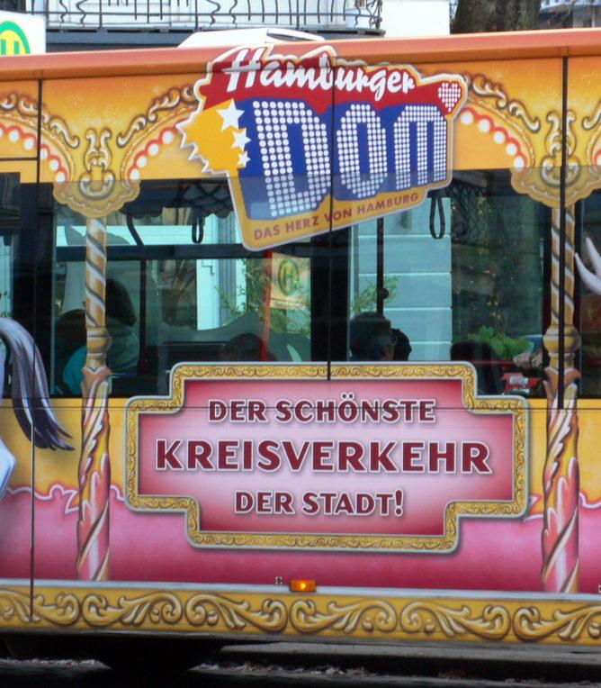 Der schönste Kreisverkehr in Hamburg Werbung für den DOM