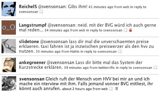 Anfragen in Twitter zum Gespräch mit dem HVV