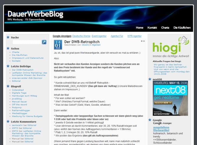 Screenshot DauerWerbeBlog