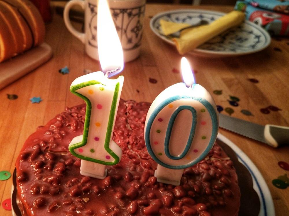 Geburtstagskerzen zum zehnten Geburtstag