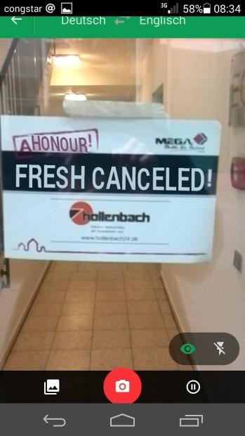 Automatisch übersetzt. Fresh canceled. Großartig.