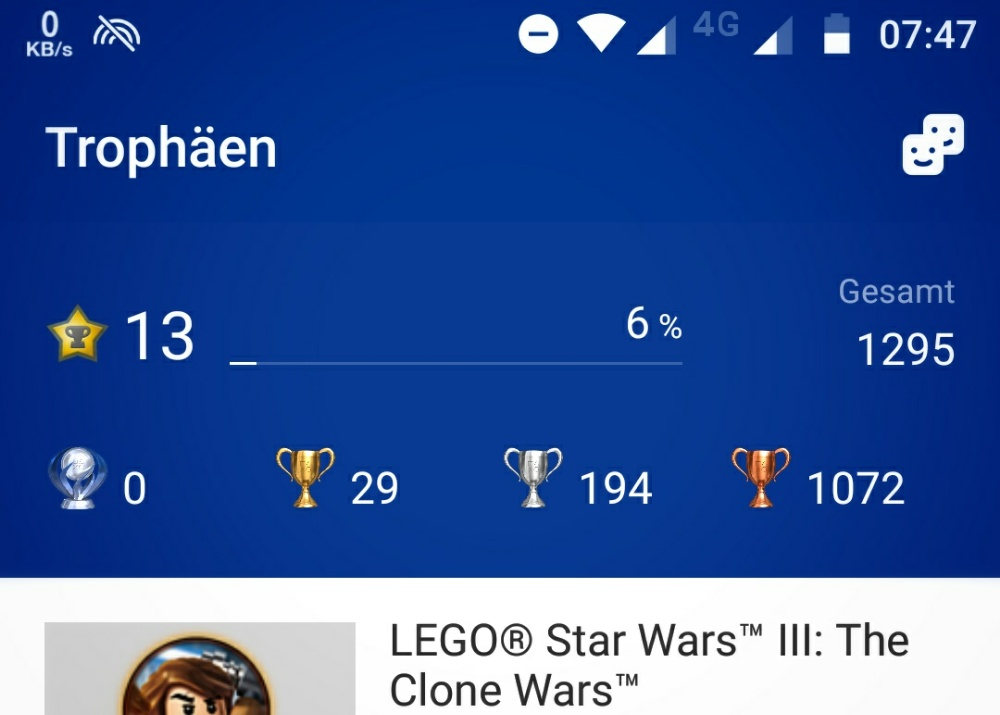 Screenshot der Playstation App.