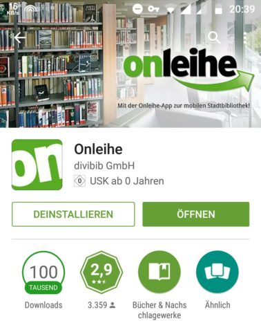 Screenshot Onleihe App